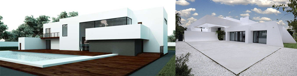 архитектура из белого цемента