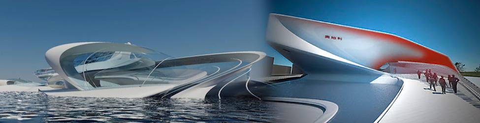 архитектура с использованием белого цемента